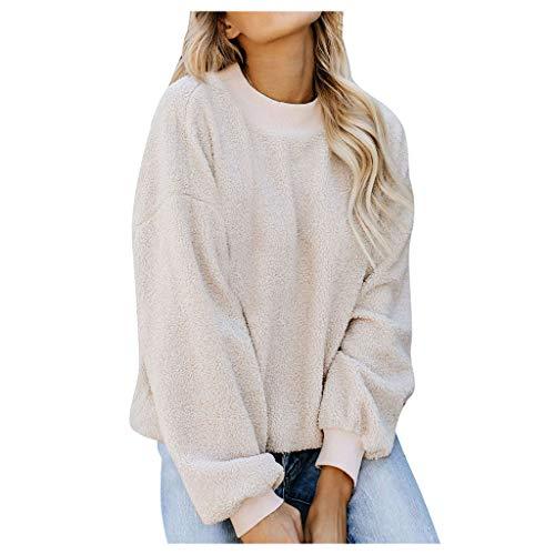 GreatestPAK Fleece-Pullover Damen Langarm O-Ausschnitt einfarbig flockig Sweatshirt Rundhalsausschnitt Plüsch Pullover,Beige,L