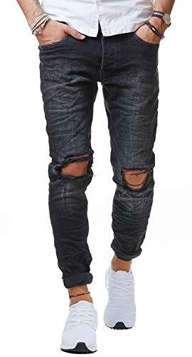 Redbridge Herren Jeans Hose Denim Slim Fit Destroyed Zerrissen Verwaschen Schwarz M4098, Schwarz, 32W / 32L
