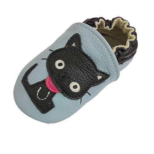 LSERVER Chaussures Bébé en Cuir Souple Premiers Pas Chaussons Semelle Douce, Chat Noir, L (12-18...