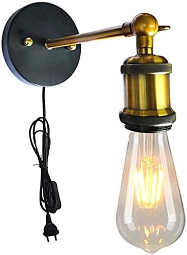 GDEVNSL Lámparas de Pared industriales Vintage con Interruptor y Enchufe Lámparas de Lavado de Pared Lámpara de Pared Retro de Metal de Loft Lámpara de Pared de latón de ángulo Ajustable con E27