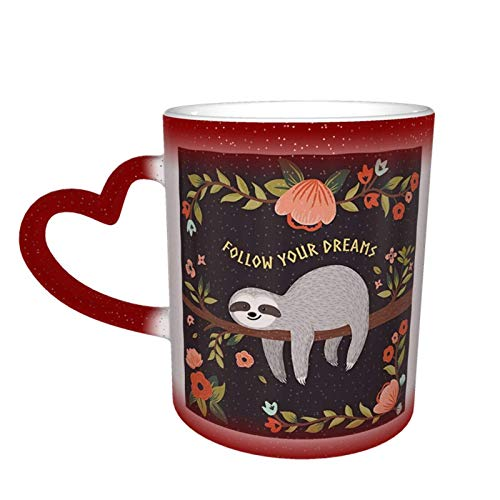 XCNGG Taza de café de la taza de la taza del cielo estrellado de la pendiente de la taza de cerámica White Funny Sloth Print Magic Heat Sensitive Color Changing Mug In The Sky Funny Art Coffee Mu