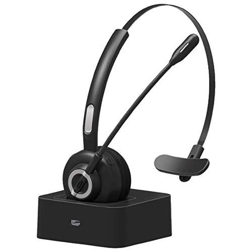 Tanouve Cuffie Bluetooth Senza Fili con Microfono con Antirumore, Cuffie Vivavoce per PC,Computer,Android Telefono,iPhone, per Call Center, Conference Call,Videoconferenza Ufficio,Apprendimento online