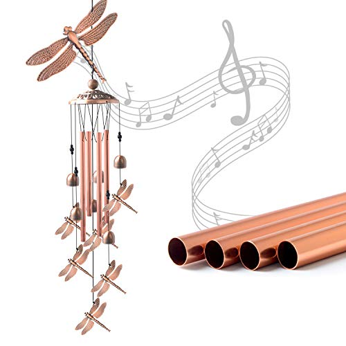 JOBOSI Dragonfly Wind Chimes Wind Chimes Outdoor Garden Decor Garden Gifts Gifts for momMemorial Wind Chimes Copper Wind Chimes Indoor/Outdoor Waterproof