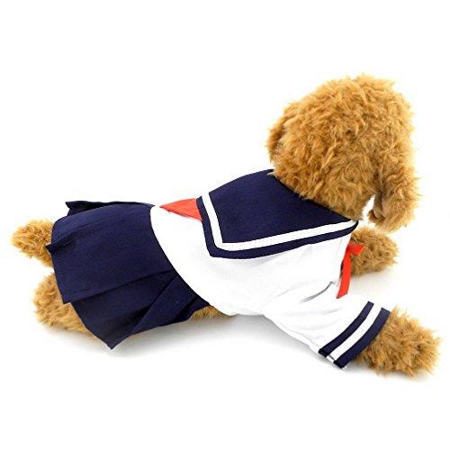 SELMAI Marine Marin Capitaine Costume Chien Robes Style Frais Uniforme de l'étudiant, pour Petit Chien Chat Chiot Animal Domestique