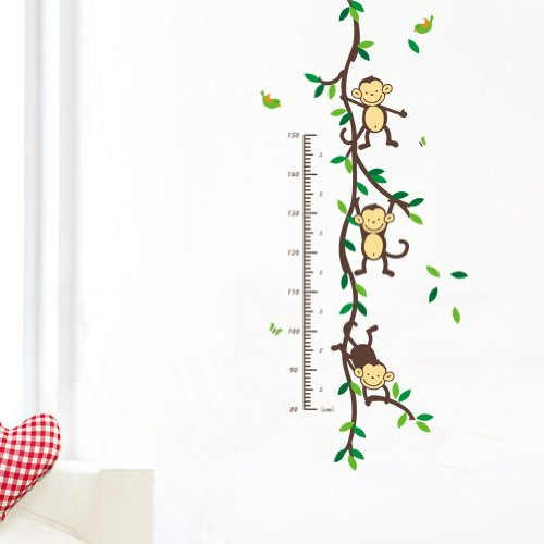 LLQ Wall Sticker Measuring, Kids Growth Chart Decal, Cartoon Monkey Height Measurement Mural for Children's Room, Nursery Deco