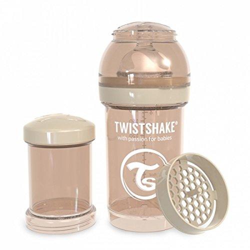 Twistshake 78253 Anti-koliek fles 180ml met mixer en doseerdoosje, Pastelbeige