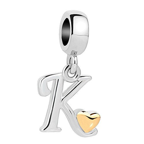 UNIQUEEN Letter Initial Alphabet Golden Heart Dangle Charms Beads for Charm Bracelets