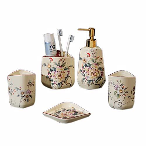 YWXG Baño de cerámica Retro 5 Sets Enjuague bucal dispensador de jabón Soporte para Cepillo de Dientes jabonera