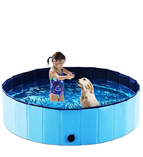 Exciting Foldable Pet Swimming Pool – Size XXL 63inch Portable Dog Pet Bath Wash Tub - Collapsible Pets PVC Bathing Tub – Hard Plastic Outdoor Kiddie Bathtub for Dogs, Cats, Baby, Children & Kids