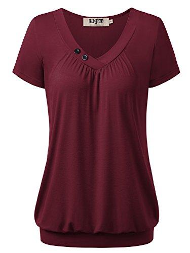 DJT Damen Basic V-Ausschnitt Kurzarm T-Shirt Falten Tops mit Knopf Dunkelrot 2XL