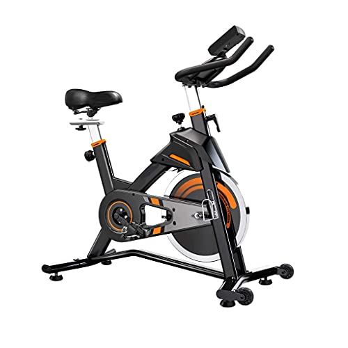 DMSA Bicicleta de Ciclismo Interior estacionaria - Bicicleta de Ejercicios para el Gimnasio para el hogar con cómodo cojín de Asiento, transmisión por Correa silenciosa, Soporte para iPad