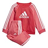adidas I Logo Jog FL Trainingsanzug, Unisex Kinder L Rosa/weiß