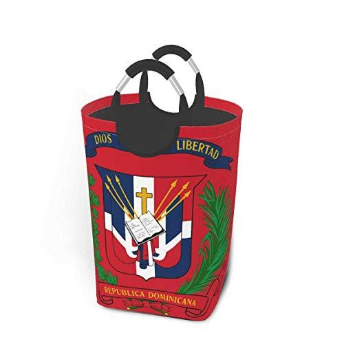 Escudo de armas de la República Dominicana, paquete de ropa sucia, 50 l, cesto de lavandería, cesto de lavandería impermeable con asas, bolsa de lavandería delgada y plegable para lavar la ropa en cas