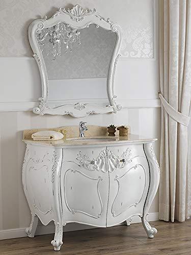 SIMONE GUARRACINO LUXURY DESIGN Meuble Salle de Bain avec Miroir Anderson Style Shabby Chic bombé Blanc Vieilli marbre crème poignées Crystal SW