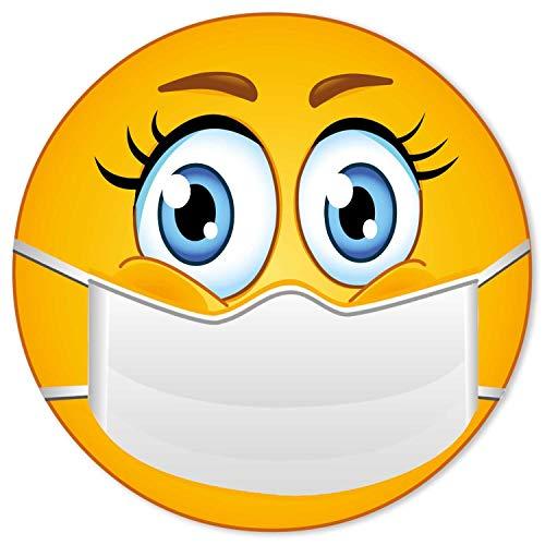Hinweis-Aufkleber I Bitte tragen Sie einen Mundschutz I Ø 15 cm rund I Hinweis-Klebeschildchen Nasen-Mund-Schutz benutzen mit Smiley I für Firmen Geschäfte Praxis I dv_833