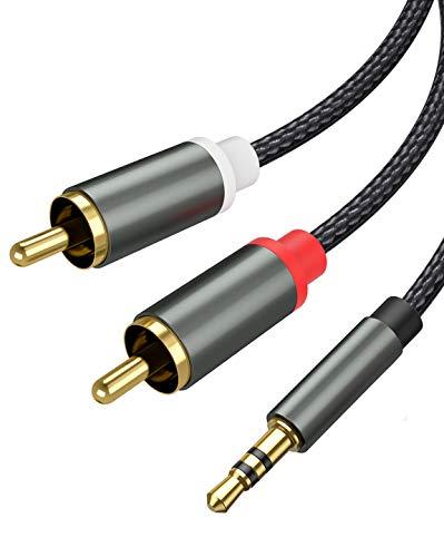 Froggen Cable Adaptador RCA Jack 3,5mm, Cable de Audio 3.5mm a 2RCA Macho Nylon Trenzado, para Móvil, Smart TV, MP3, PC, Amplificador, Altavoz, etc 1.1Metros
