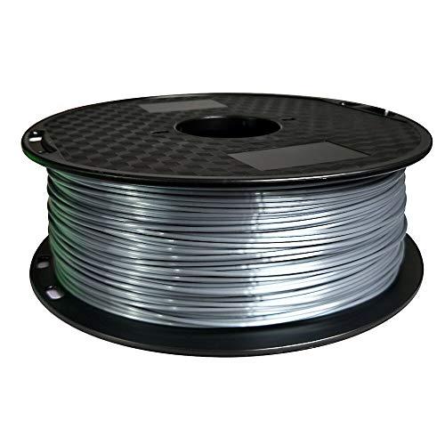 Eono by Amazon Silk Silver PLA-Filament 1,75 mm 3D-Drucker-Filament 1 kg 2,2 kg Spool 3D-Druckmaterial Seidiger Glanz Glänzendes PLA-Filament aus Metall