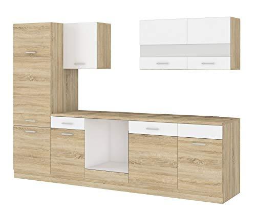Küche CORA III 280 Küchenzeile Küchenblock Einbauküche Sonoma Eiche + Weiss