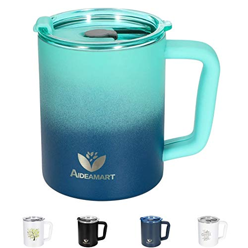 Insulated Coffee Cup with Lid 14OZ Stainless Steel Coffee Mug with Handle & Soft Silicone Handle Cover Double Wall Vacuum Insulated Coffee Mug Spill Proof Travel Mug Tumbler for Hot Cold Drinks