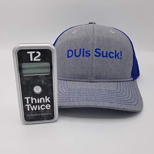 Read About AlcoMate Premium AL7000 Professional Breathalyzer with Prism Technology Bundle with DUIs Suck! Trucker Cap – Gray/Blue