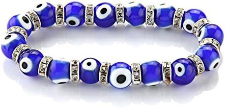 Skyllc® Brazalete Pulsera Cristal de murano Redondo Ojos Azul 10 mm Moda