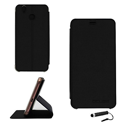 Ycloud Tasche für Oukitel U7 pro / U7 Plus Hülle, PU Ledertasche Metal Smartphone Flip Cover Hülle Handyhülle mit Stand Function Schwarz