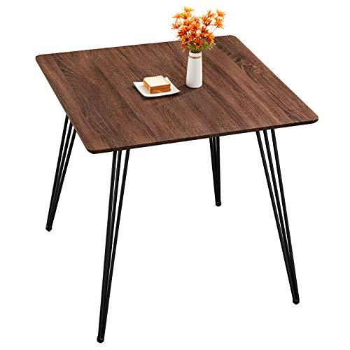 GreenForest Quadratischer Esstisch, Küchentisch, moderner einfacher Stil, mit stabilen Metallbeinen, 80 cm, Couchtisch, Schreibtisch, Walnuss