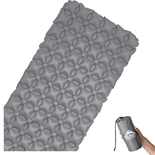 RedValley Aufblasbare Premium Isomatte 195cm - Ultraleichte Bequeme Luftmatratze ideal fürs Camping (Grau)