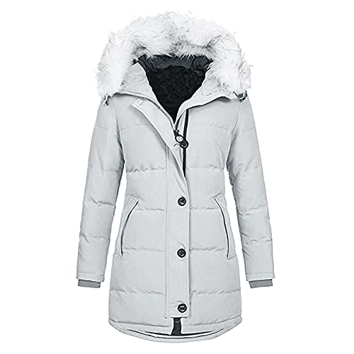 URIBAKY - Abrigo de piel de invierno con forro polar para mujer, con capucha desmontable, gris, M