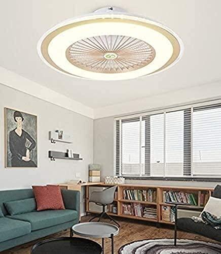 WTTCD 40W Control Remoto Colgando Lámpara De Ventilador Ventilador Inteligente Ventilación Luz Tres Color Avión Led Araña Araña Dormitorio Decorativo Lámpara-Dorado