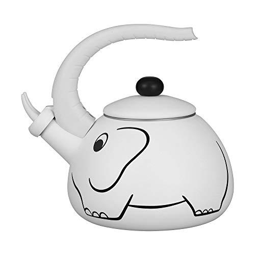 Gourmet Art White Elephant Enamel-on-Steel Whistling Kettle