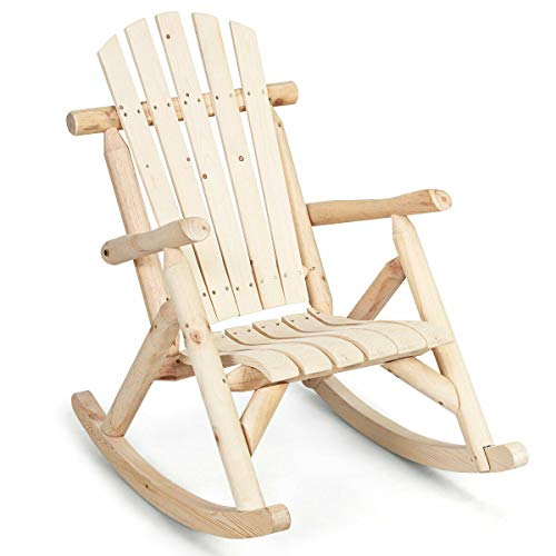 Patio Wooden Rocking Chair Garden Porch Multifunctional Lounge Rocker Bench Multi-use Sitting Home Yard with Ebook