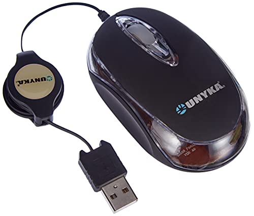 UNYKAch 20226 - Mini ratón (USB, cable retráctil) color negro