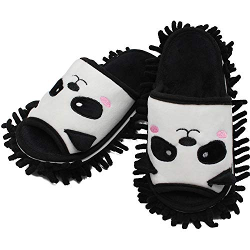 GOPLORE Women Cozy Indoor Slide Slippers Open Toe House Sandals Spa Mules Memroy Foam Slip On Shoes Mop Floor Clean (White-Panda, Numeric_7)