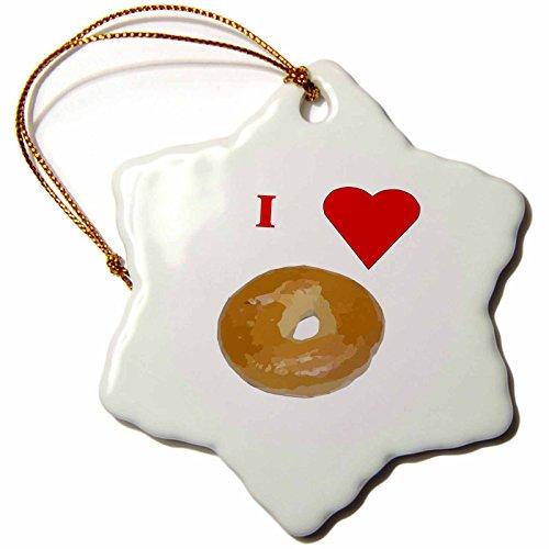 3dRose orn_60655_1 Love Bagels Snowflake Decorative Hanging Ornament, Porcelain, 3-Inch