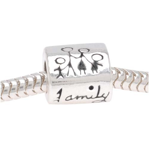 Beadaholique Tube Message Pandora Compatible Bead Family, Sterling Silver