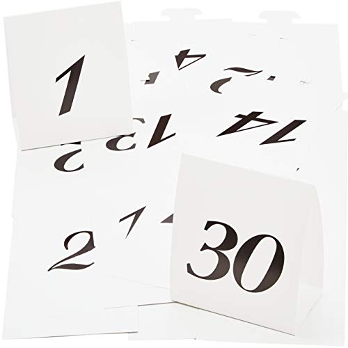 Elegant, Easy-to-Read Wedding Table Numbers 1-30. Double Sided, Folding Placards. Large, Black Type on White Cardstock Markers Best for Receptions, Banquets, Parties, Award Dinners and Business Events