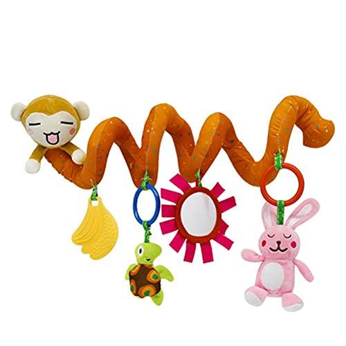WINBST Espiral de actividad Safari, cama en espiral, juguete para cochecito de bebé, juguete colgante seguro con sonajero en espiral para pasear, asiento de coche, juguete cómodo