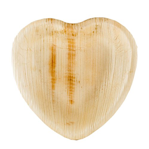 BalsaCircle 50 pcs 6.6-Inch Natural Palm Leaf Heart Shaped Plates - Disposable Wedding Party Catering Tableware
