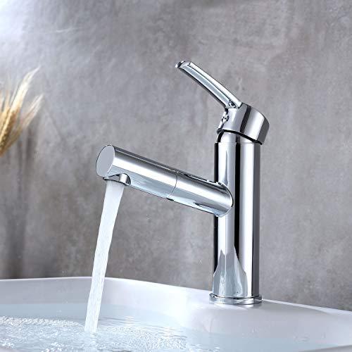 Homelody Cromado Grifo Lavabo Extraíble,Grifo Baño para el Cuarto de Baño sin plomo Agua fría y agua caliente
