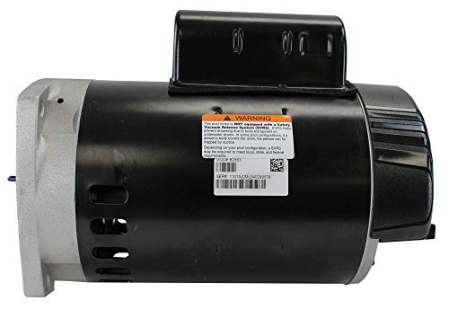 A.O. Smith B2853 1 HP, 3450 RPM, 1 Speed, 230/115 Volts, 6.6/13.2 Amps, 1.25 Service Factor, 56Y Frame, PSC, ODP Enclosure, Square Flange Pool Motor