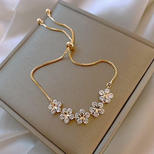 Taosheng Exquisita cadena llena de oro real de 14 quilates, pulsera de flores de cristal simple, joyería de aniversario para mujer (color de la gema: oro)