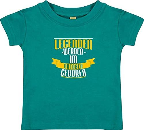 Shirtstown T-SHIRT ENFANTS légendes de octobre né - Jade, 0-6 Monate