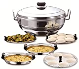Hestina Premium Heavy Duty All-in-One Stainless Steel Idli Cooker Multi Kadai Steamer