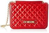 Love Moschino Borsa Quilted Nappa PU, Bolsa de mensajero para Mujer, Rojo (Rosso), 6x19x28 centimeters (W x H x L)