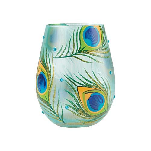 Enesco Designs by Lolita Peacock Feathers - Copa de vino pintada a mano sin tallo, 20 onzas, multicolor