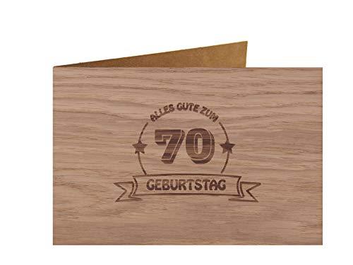 Holzgrußkarte - Geburtstagskarte - 100% handmade in Österreich - Postkarte Glückwunschkarte Geschenkkarte Grußkarte Klappkarte Karte Einladung, Motiv:ALLES GUTE 70 GEBURTSTAG EICHE