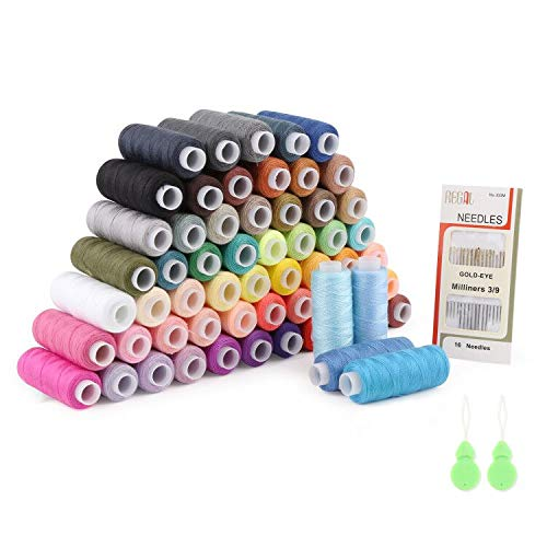 Mitening Kit de Costura de Bobinas de 60 Hilos de Colores de Poliéster para Coser, 228,6 m Cada Una, 16 Agujas para Coser y 2 Enhebradores Adecuados para Coser Ropa a Mano y a Máquina