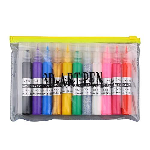 Lunga Durata 3D Nail Art Polish Painted Pen Liner Pittura Pen Kit Penna...