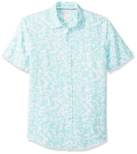 Amazon Essentials - Camisa de lino a rayas, de manga corta y corte entallado para hombre, Aqua Leaf Print, US XL (EU XL - XXL)